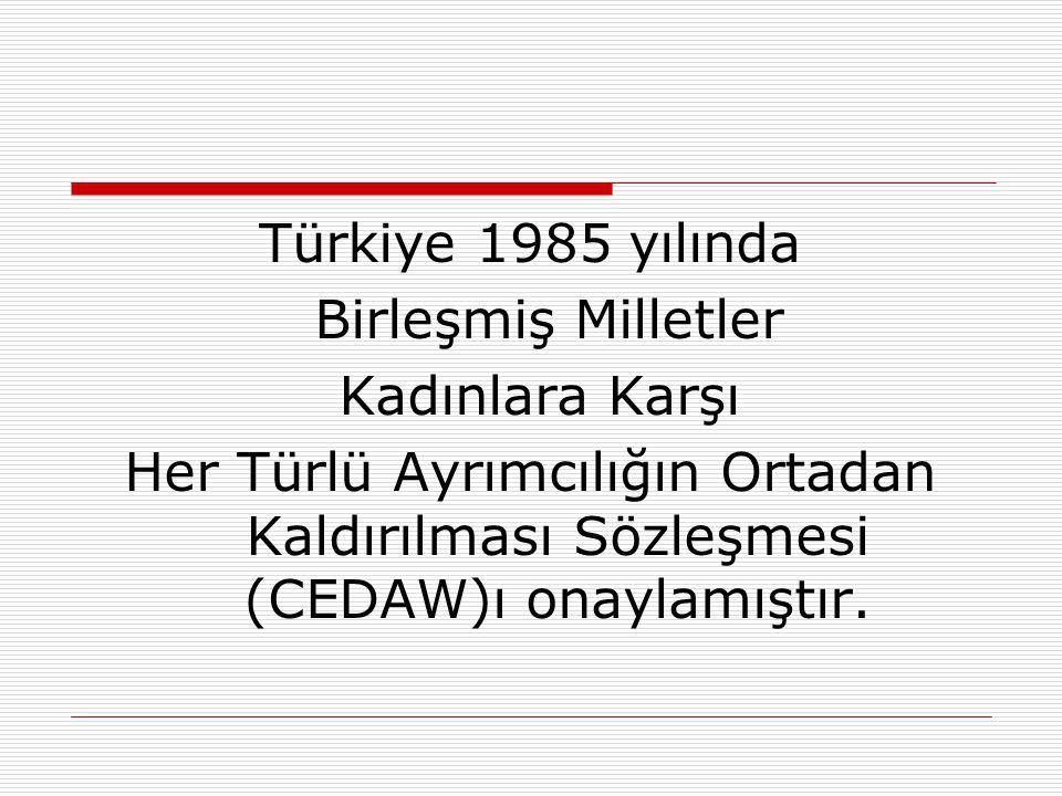 Türkiye 1985 yılında Birleşmiş Milletler. Kadınlara Karşı.