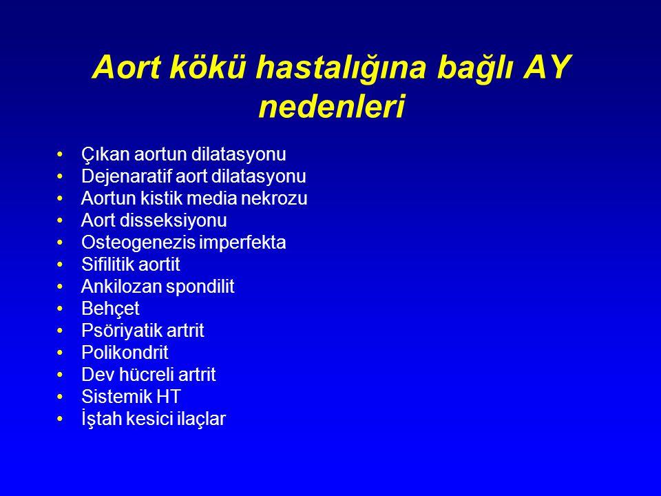 Aort kökü hastalığına bağlı AY nedenleri