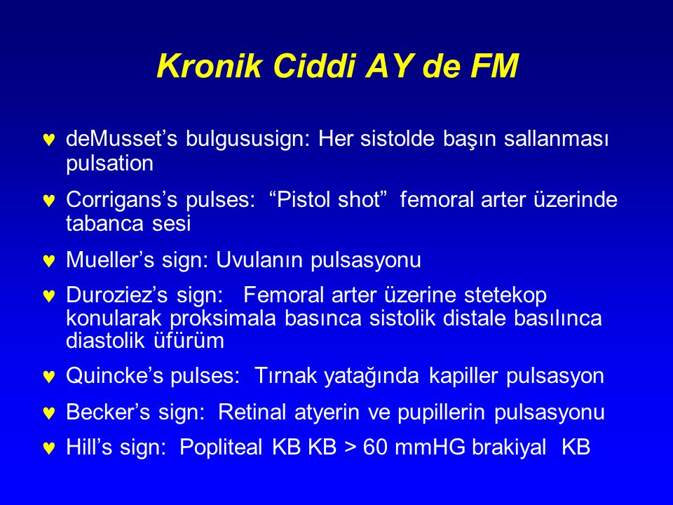 Kronik Ciddi AY de FM deMusset's bulgususign: Her sistolde başın sallanması pulsation.