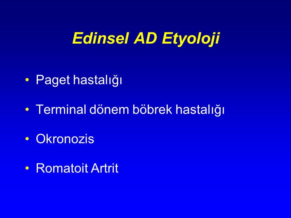 Edinsel AD Etyoloji Paget hastalığı Terminal dönem böbrek hastalığı
