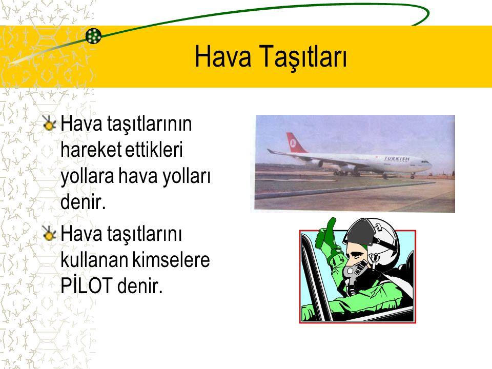 Hava Taşıtları Hava taşıtlarının hareket ettikleri yollara hava yolları denir.