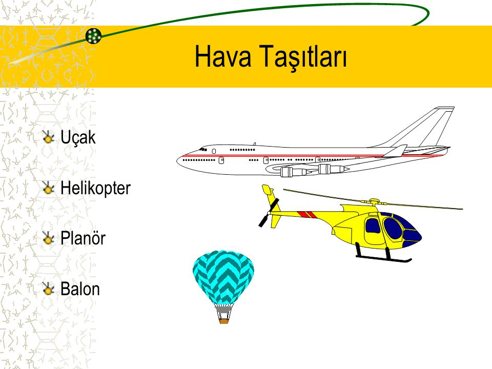 Hava Taşıtları Uçak Helikopter Planör Balon