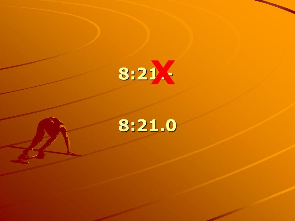 X 8:21.- 8:21.0