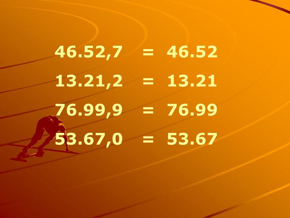 46.52,7 = 46.52 13.21,2 = 13.21 76.99,9 = 76.99 53.67,0 = 53.67