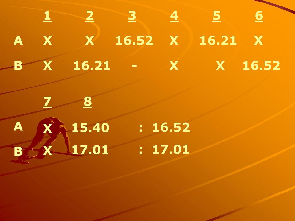 1 2 3 4 5 6 A X X 16.52 X 16.21 X. B X 16.21 - X X 16.52.