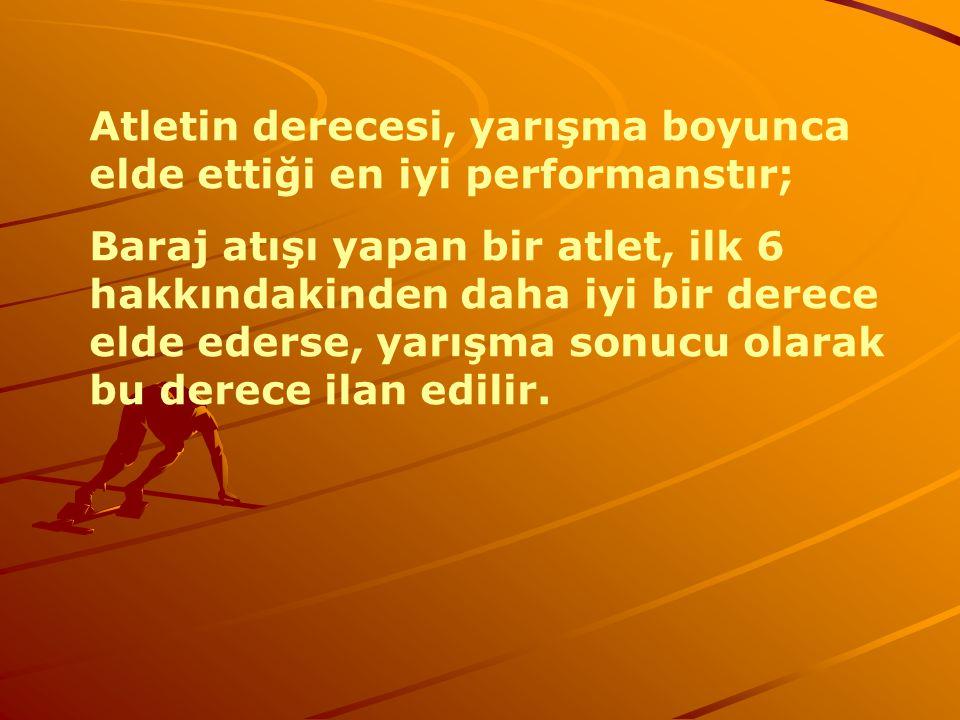 Atletin derecesi, yarışma boyunca elde ettiği en iyi performanstır;