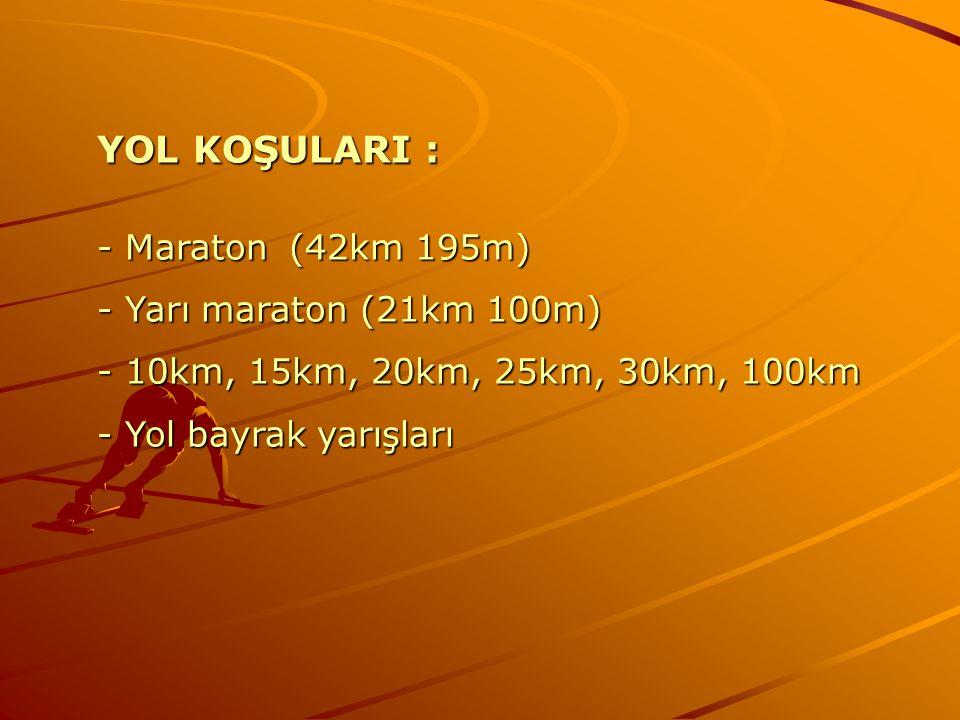 YOL KOŞULARI : - Maraton (42km 195m) - Yarı maraton (21km 100m)