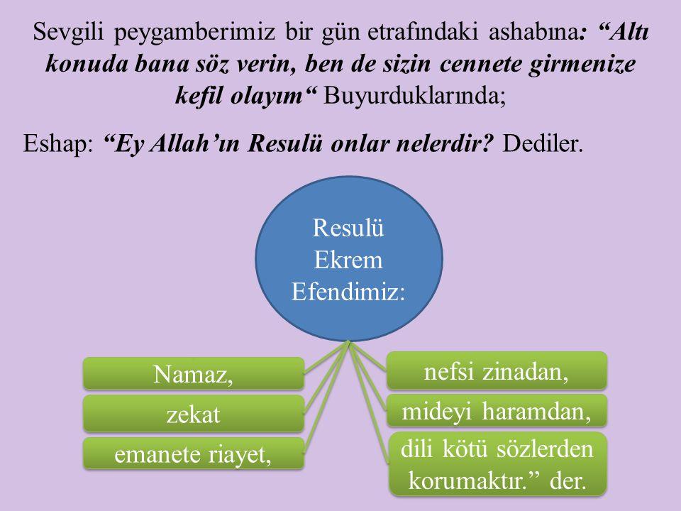 Eshap: Ey Allah'ın Resulü onlar nelerdir Dediler.
