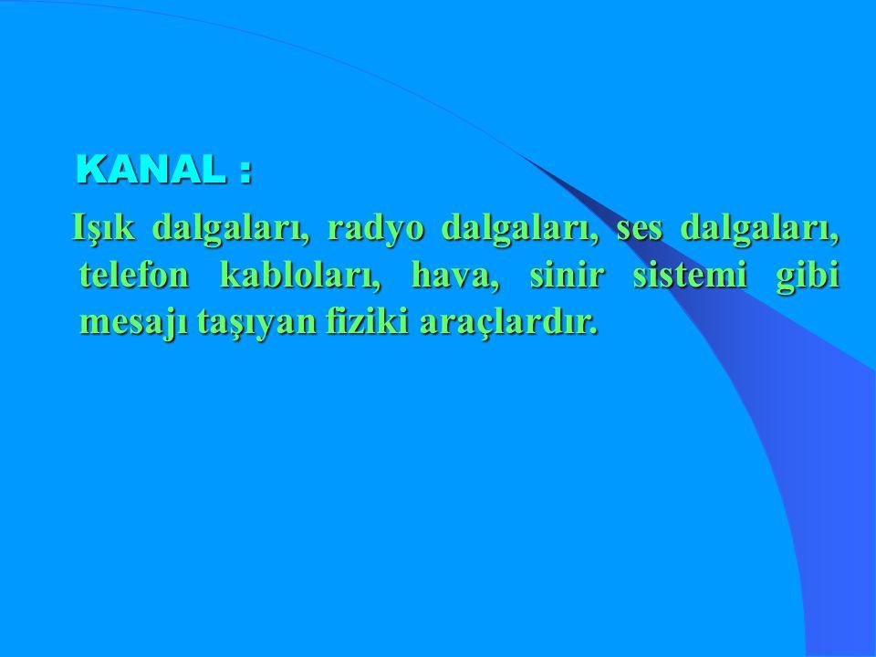 KANAL : Işık dalgaları, radyo dalgaları, ses dalgaları, telefon kabloları, hava, sinir sistemi gibi mesajı taşıyan fiziki araçlardır.