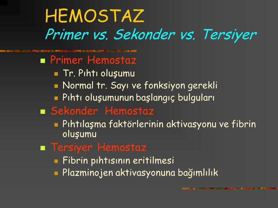 HEMOSTAZ Primer vs. Sekonder vs. Tersiyer