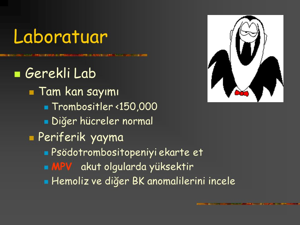 Laboratuar Gerekli Lab Tam kan sayımı Periferik yayma
