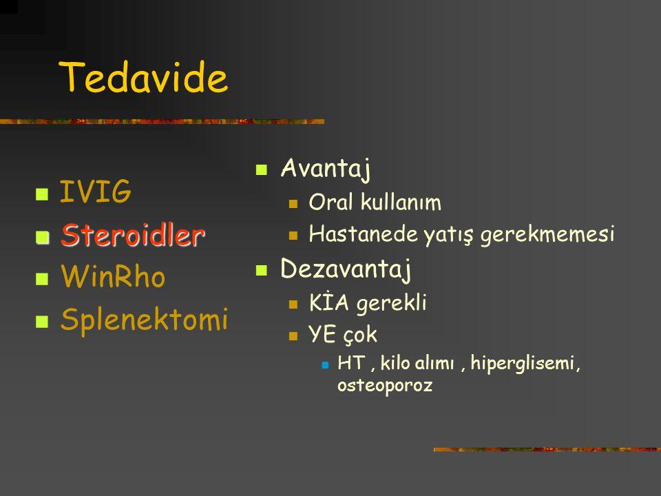 Tedavide IVIG Steroidler WinRho Splenektomi Avantaj Dezavantaj