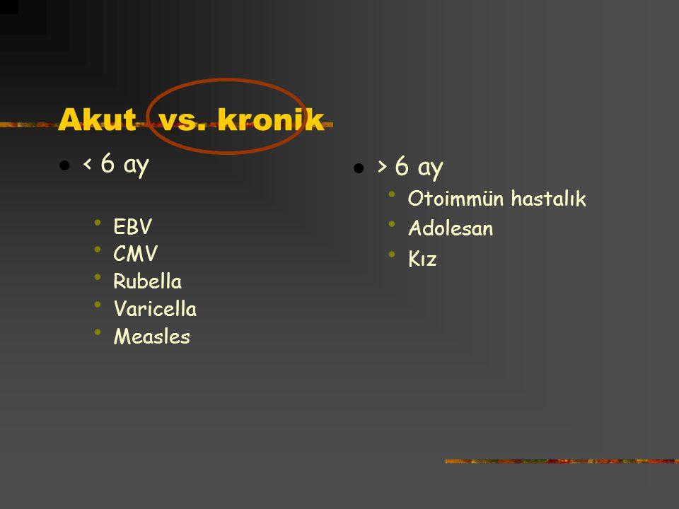 Akut vs. kronik < 6 ay > 6 ay EBV CMV Rubella Varicella Measles