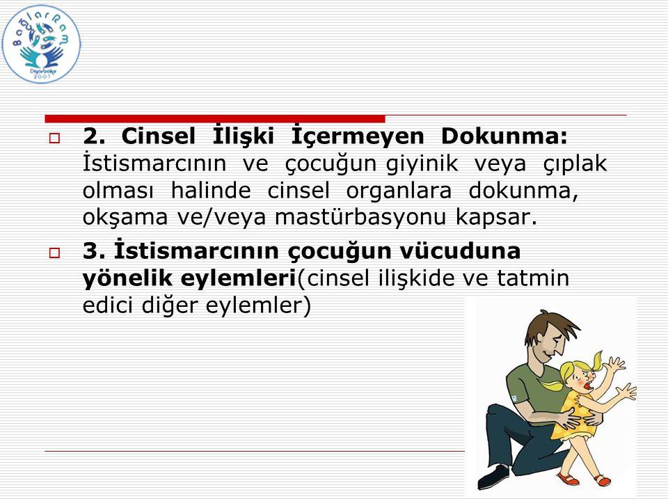 2. Cinsel İlişki İçermeyen Dokunma: İstismarcının ve çocuğun giyinik veya çıplak olması halinde cinsel organlara dokunma, okşama ve/veya mastürbasyonu kapsar.