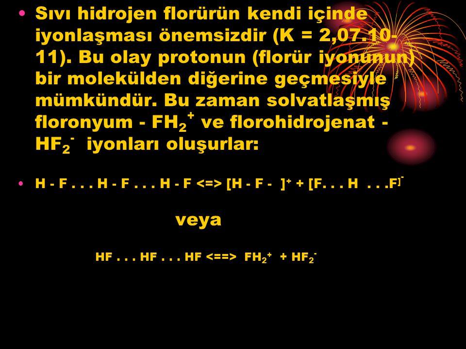 Sıvı hidrojen florürün kendi içinde iyonlaşması önemsizdir (K = 2,07