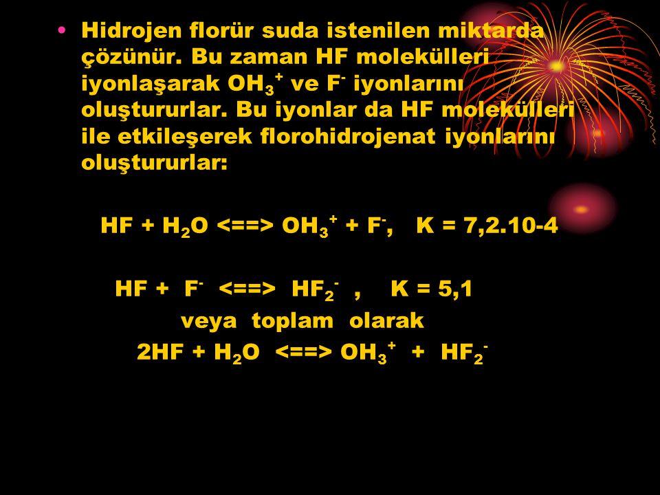 Hidrojen florür suda istenilen miktarda çözünür