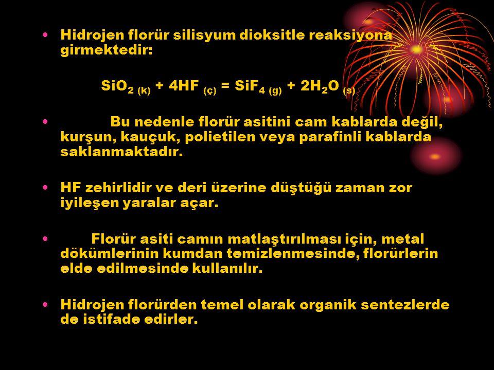Hidrojen florür silisyum dioksitle reaksiyona girmektedir: