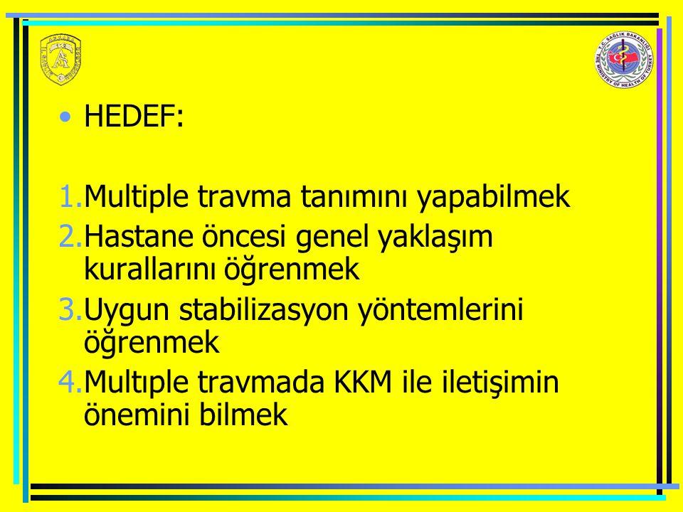 HEDEF: Multiple travma tanımını yapabilmek. Hastane öncesi genel yaklaşım kurallarını öğrenmek. Uygun stabilizasyon yöntemlerini öğrenmek.