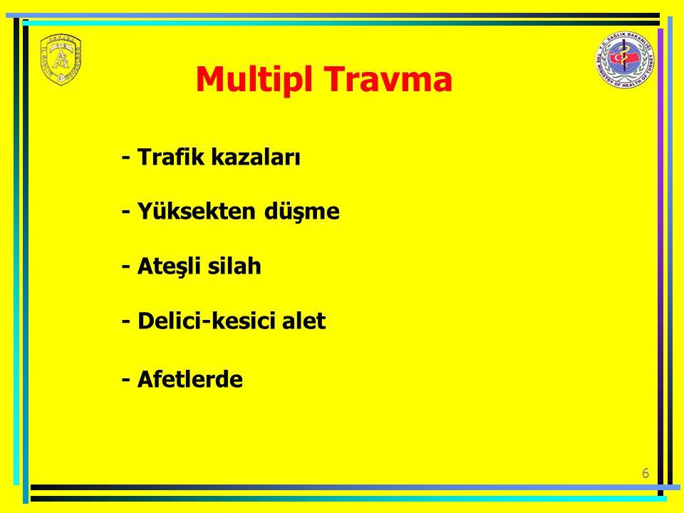 Multipl Travma - Trafik kazaları - Yüksekten düşme - Ateşli silah