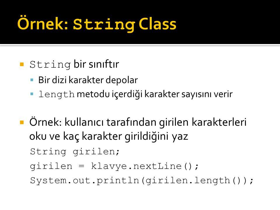 Örnek: String Class String bir sınıftır