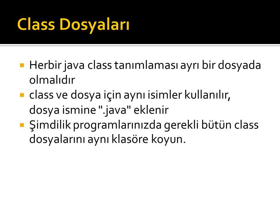 Class Dosyaları Herbir java class tanımlaması ayrı bir dosyada olmalıdır. class ve dosya için aynı isimler kullanılır, dosya ismine .java eklenir.