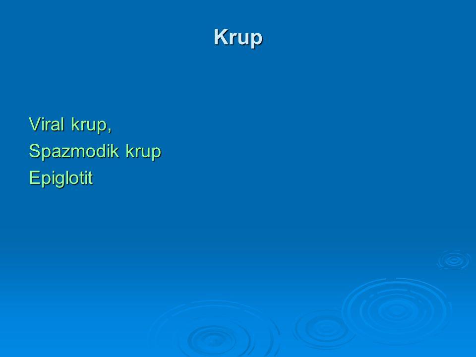 Krup Viral krup, Spazmodik krup Epiglotit