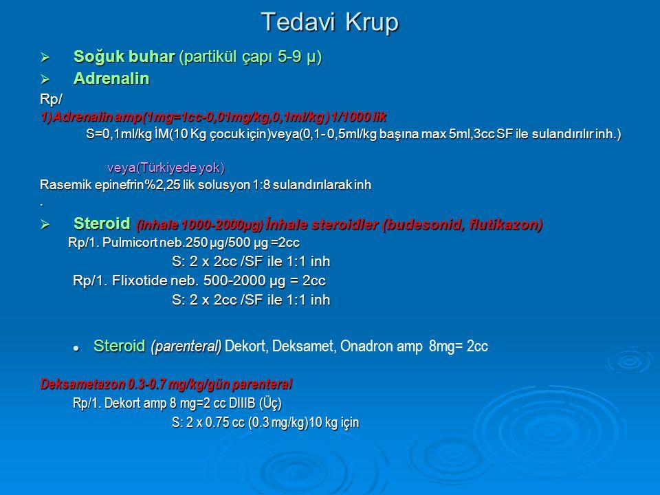 Tedavi Krup Soğuk buhar (partikül çapı 5-9 µ) Adrenalin