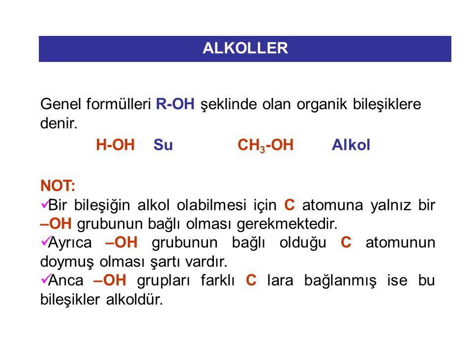 ALKOLLER Genel formülleri R-OH şeklinde olan organik bileşiklere denir. H-OH Su CH3-OH Alkol.