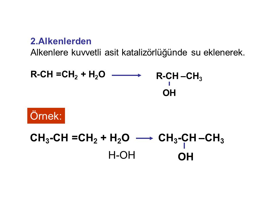 Örnek: CH3-CH –CH3 OH CH3-CH =CH2 + H2O H-OH 2.Alkenlerden