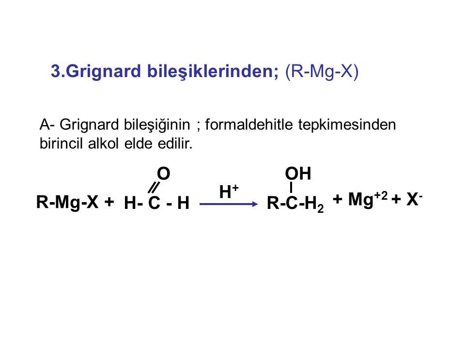 3.Grignard bileşiklerinden; (R-Mg-X)