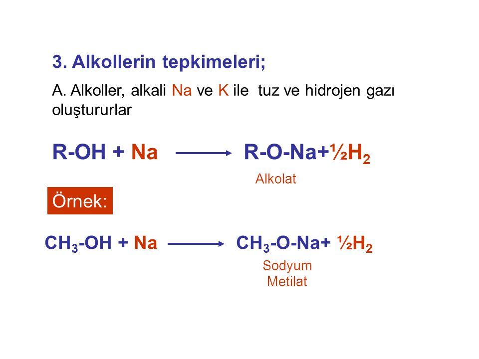 R-OH + Na R-O-Na+½H2 3. Alkollerin tepkimeleri; Örnek: