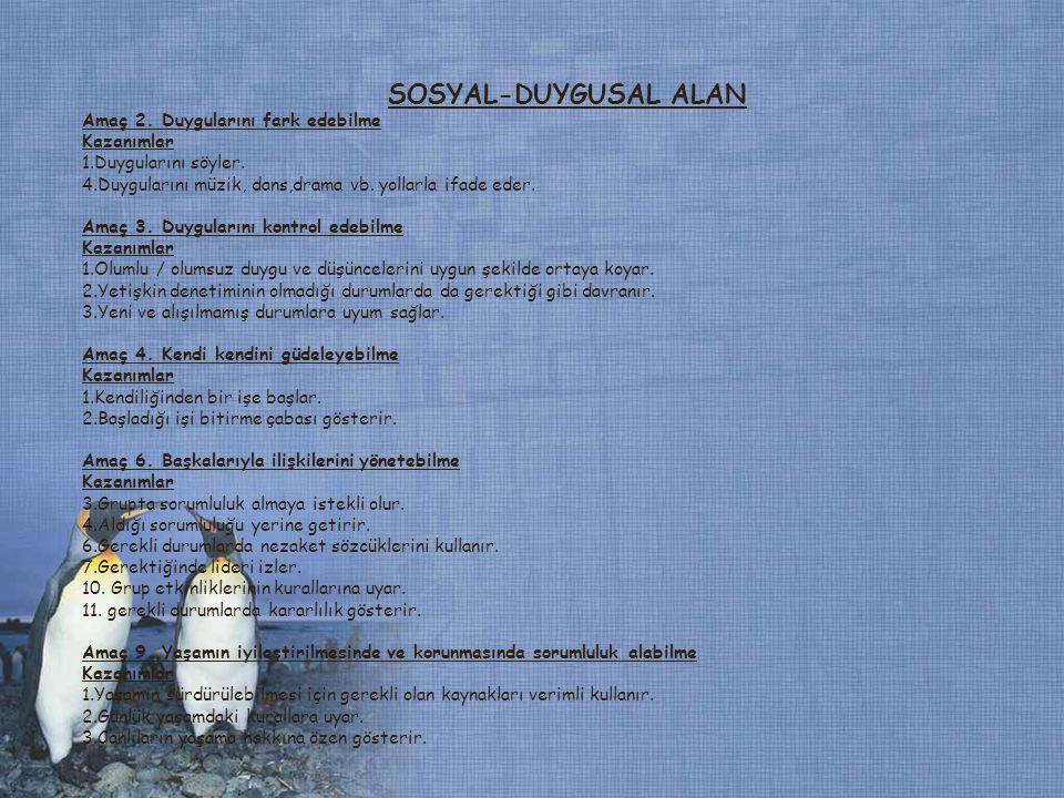 SOSYAL-DUYGUSAL ALAN Amaç 2. Duygularını fark edebilme Kazanımlar