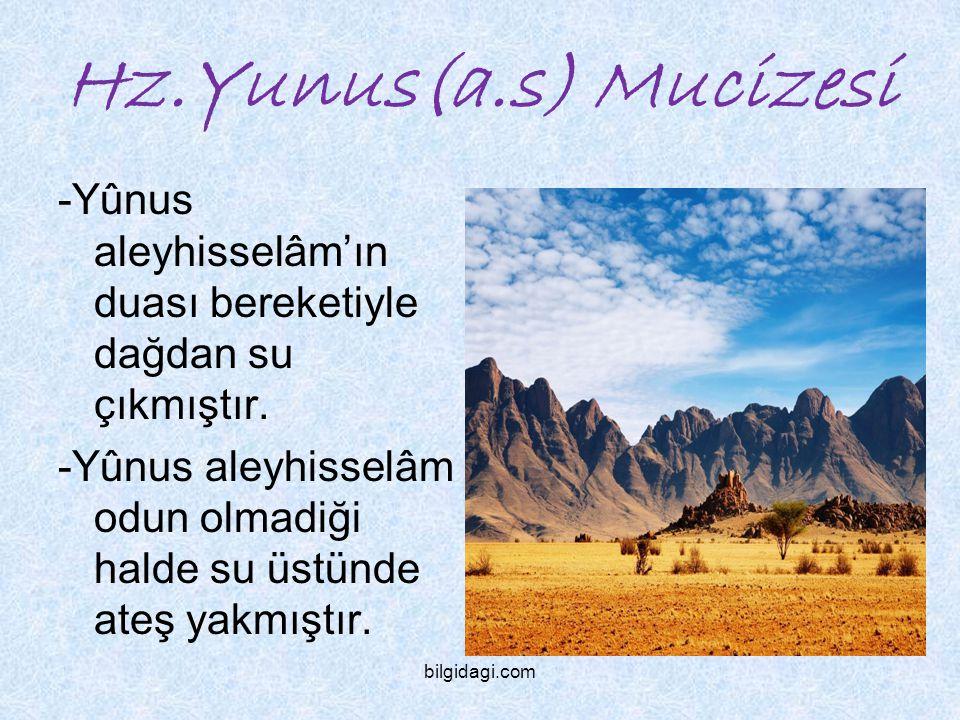 Hz.Yunus(a.s) Mucizesi -Yûnus aleyhisselâm'ın duası bereketiyle dağdan su çıkmıştır.
