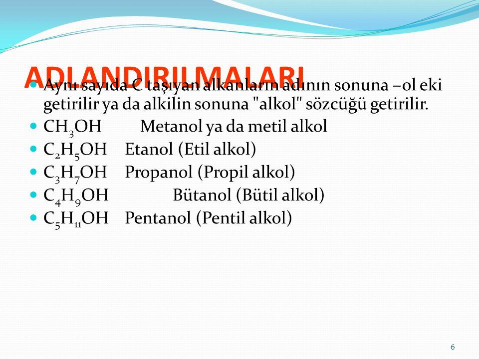 ADLANDIRILMALARI Aynı sayıda C taşıyan alkanların adının sonuna –ol eki getirilir ya da alkilin sonuna alkol sözcüğü getirilir.
