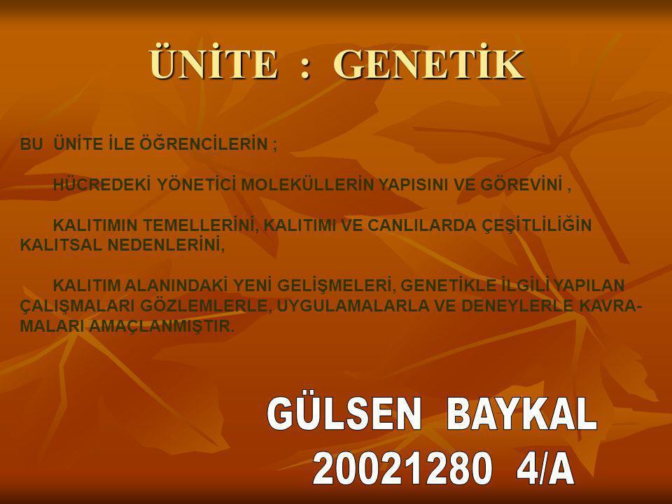 ÜNİTE : GENETİK GÜLSEN BAYKAL 20021280 4/A BU ÜNİTE İLE ÖĞRENCİLERİN ;