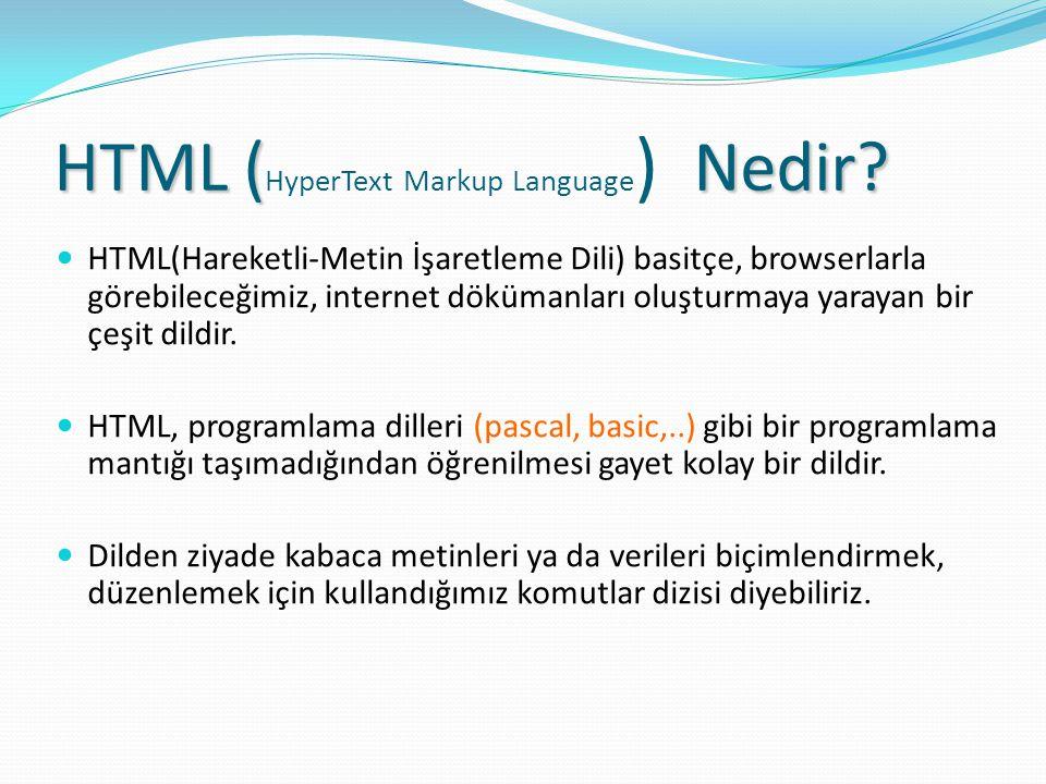 HTML (HyperText Markup Language) Nedir