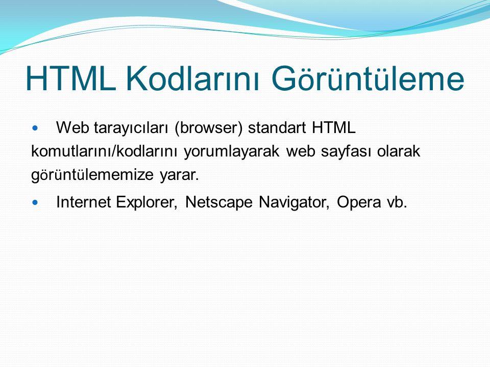 HTML Kodlarını Görüntüleme