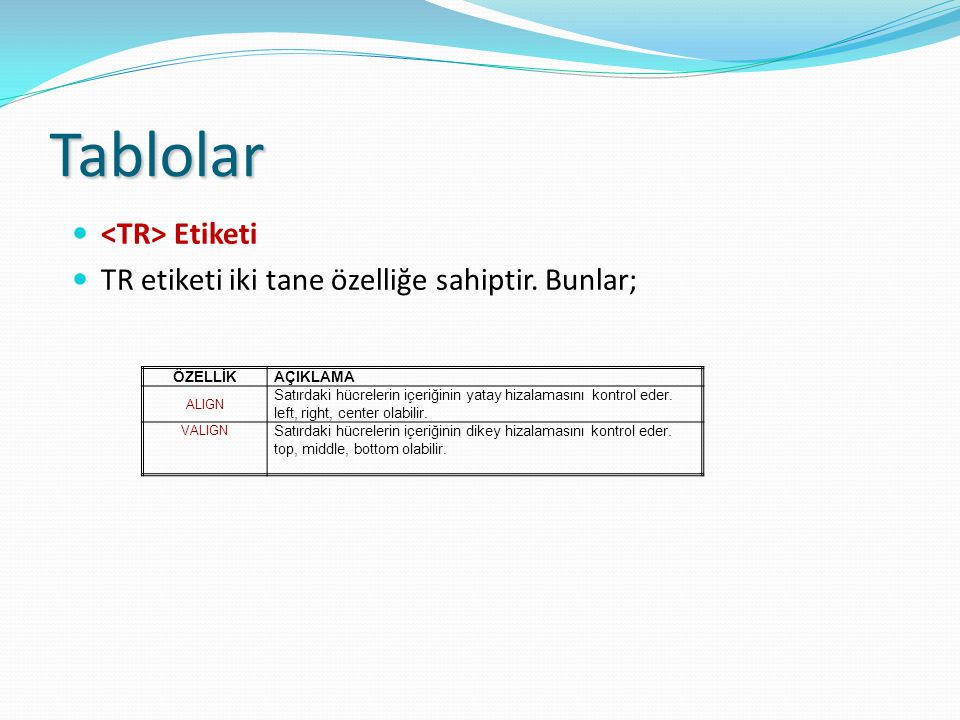 Tablolar <TR> Etiketi