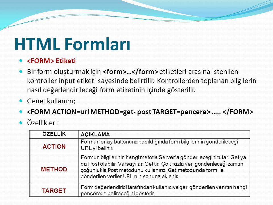 HTML Formları <FORM> Etiketi