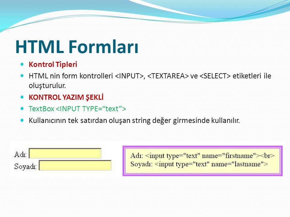 HTML Formları Kontrol Tipleri