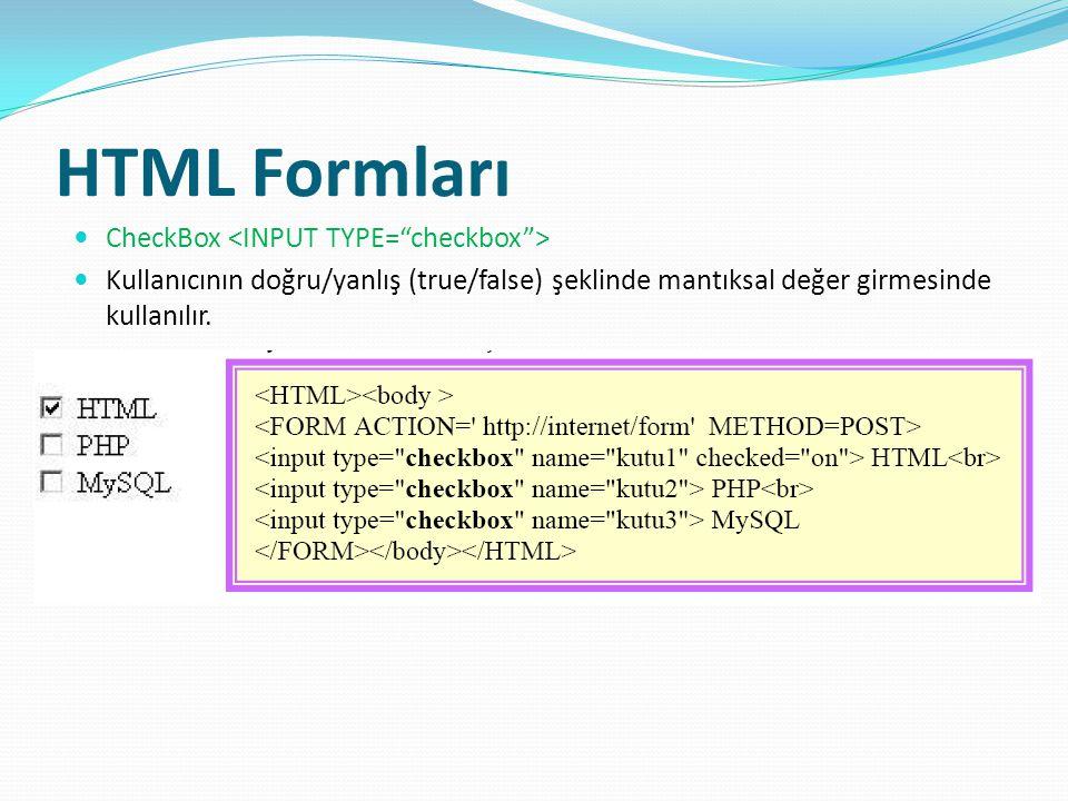 HTML Formları CheckBox <INPUT TYPE= checkbox >