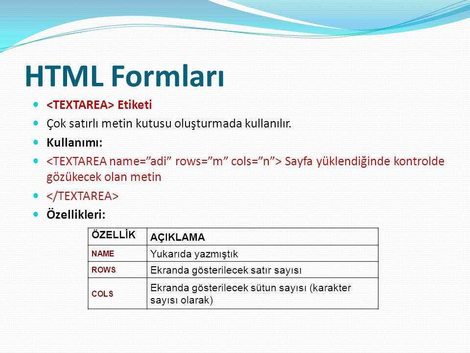 HTML Formları <TEXTAREA> Etiketi