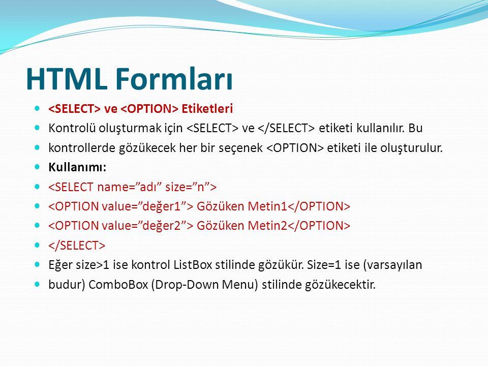 HTML Formları <SELECT> ve <OPTION> Etiketleri