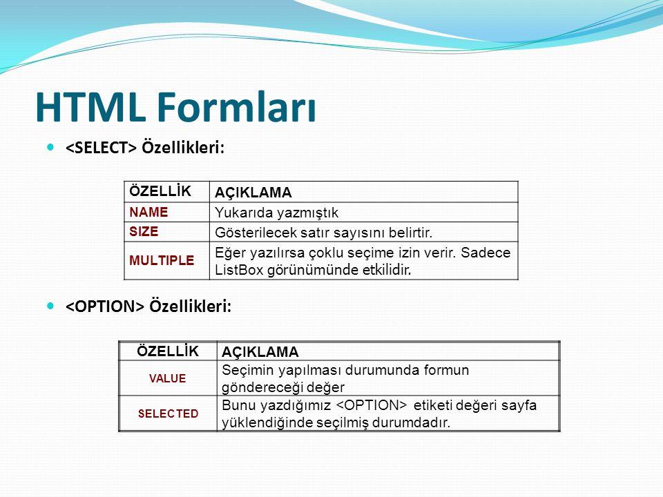 HTML Formları <SELECT> Özellikleri: <OPTION> Özellikleri: