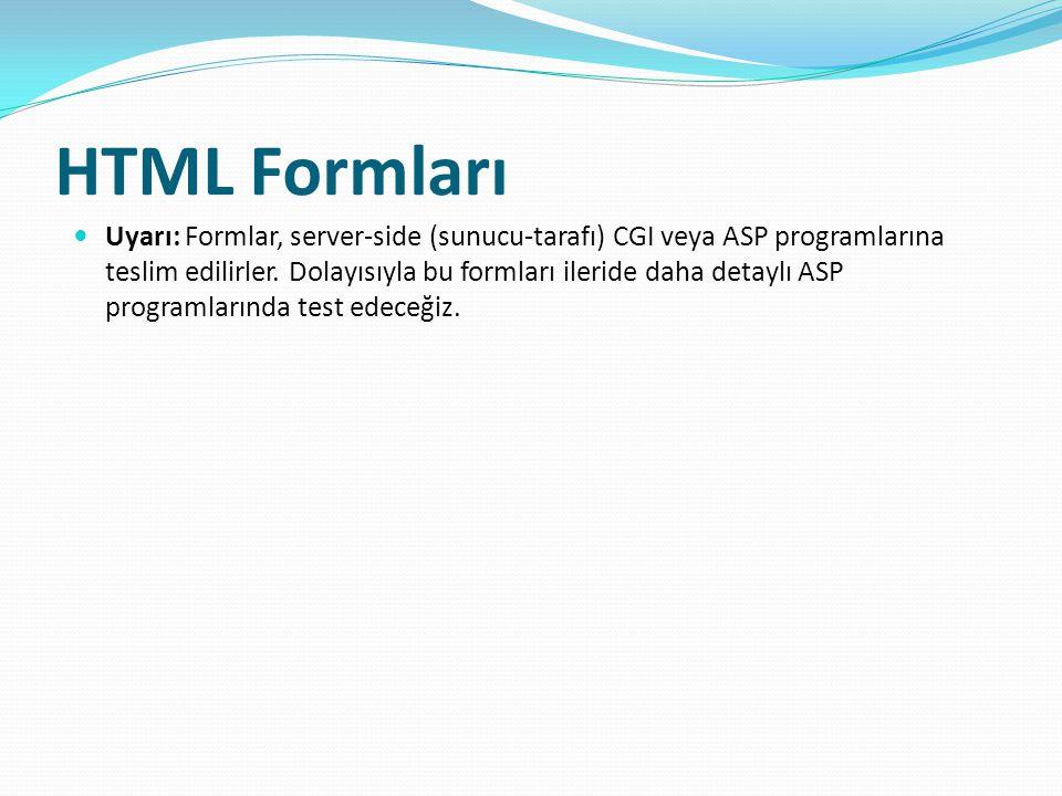 HTML Formları