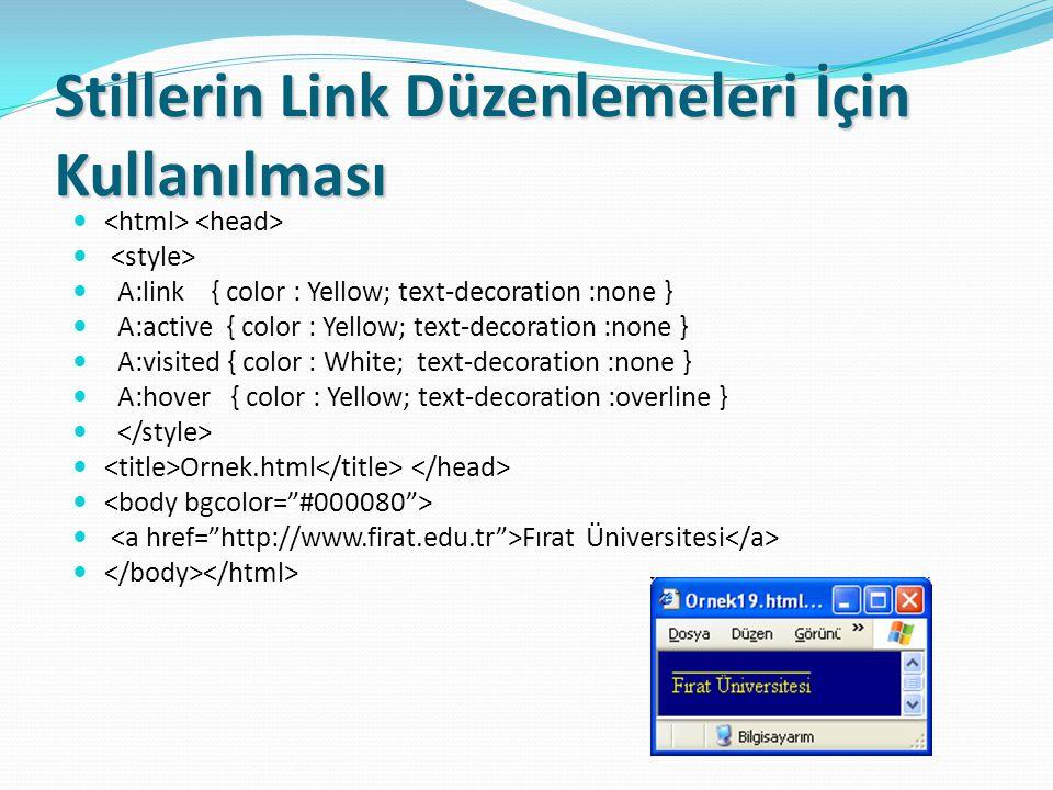 Stillerin Link Düzenlemeleri İçin Kullanılması