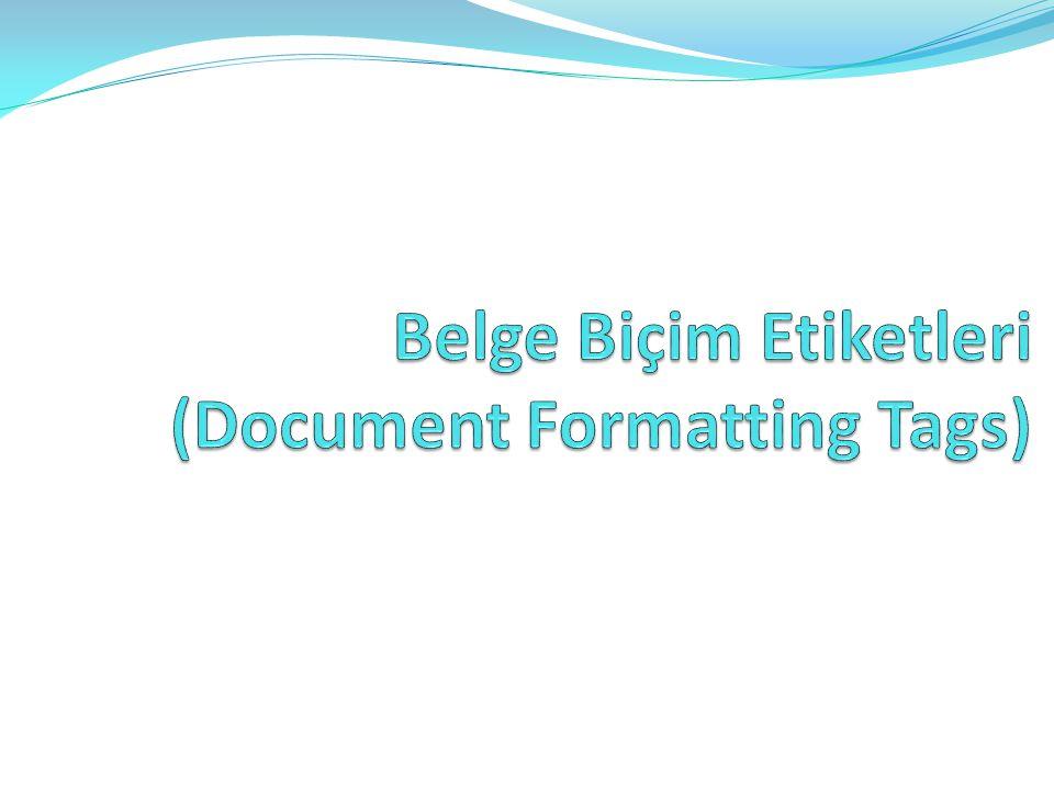 Belge Biçim Etiketleri (Document Formatting Tags)