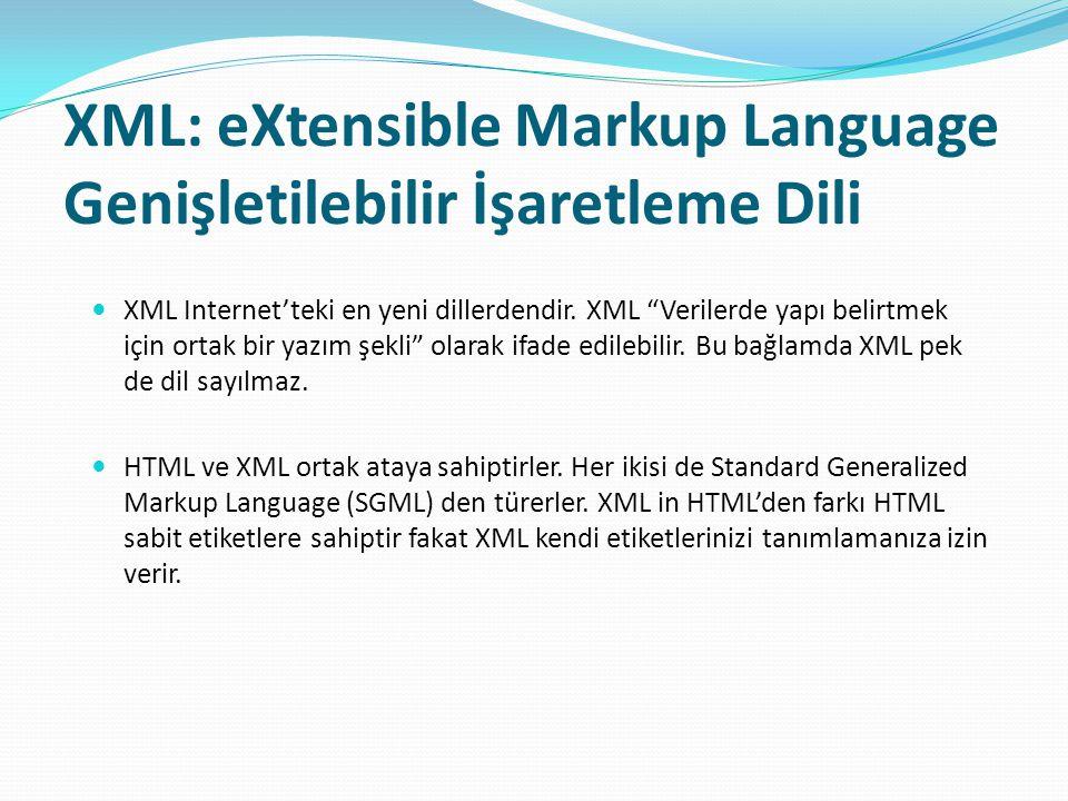 XML: eXtensible Markup Language Genişletilebilir İşaretleme Dili