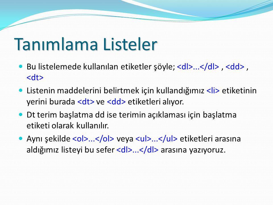 Tanımlama Listeler Bu listelemede kullanılan etiketler şöyle; <dl>...</dl> , <dd> , <dt>