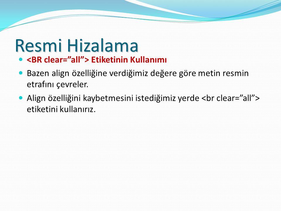 Resmi Hizalama <BR clear= all > Etiketinin Kullanımı